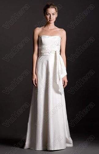 Taffeta Strapless Neckline Sheath Wedding Dress - Vuhera.com