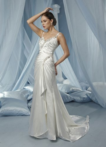 Stretch Satin Spaghetti Strap Modified Sweetheart Ruffled Bodice Column Wedding Dress - Vuhera.com