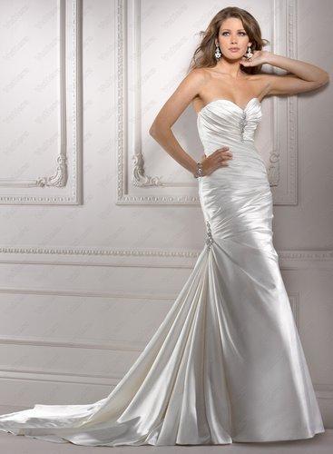 Stretch Satin Sweetheart Neckline Fit And Flare Sheath Wedding Dress - Vuhera.com