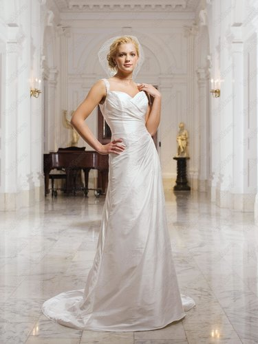 Shantung Ruched Sweetheart Asymmetrical Side drape Bodice Column Wedding Dress - Vuhera.com