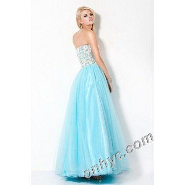 A-Line Strapless Appliques Organza Long Blue Party Dress