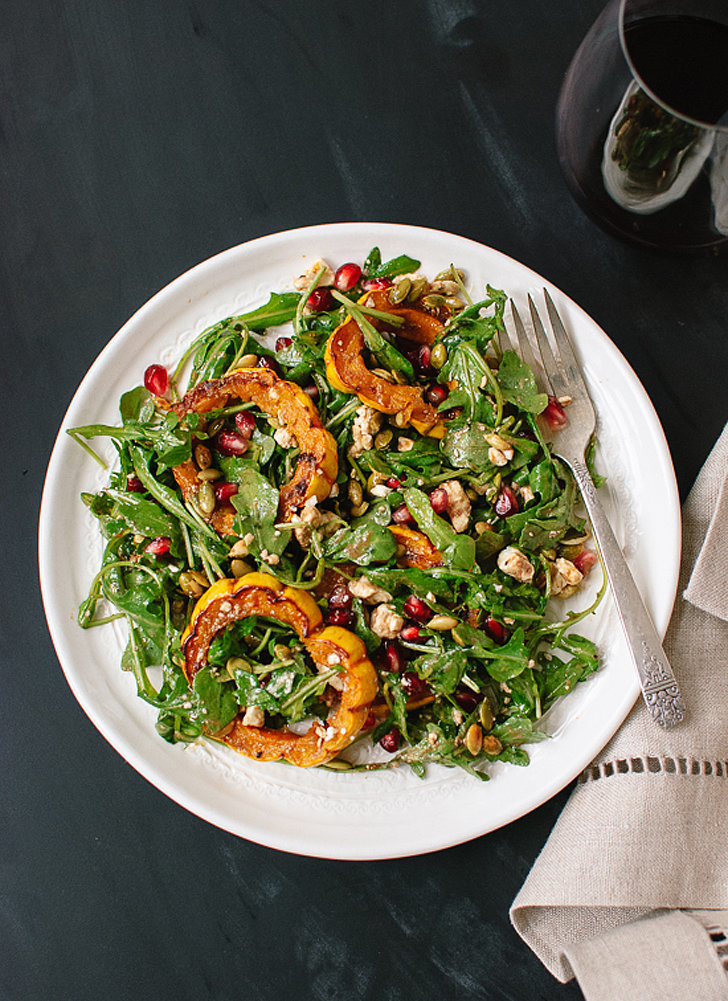 Roasted Delicata Squash, Arugula, and Pomegranate Salad