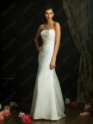 Organdy Strapless Asymmetrical Ruched Bodice Column Wedding Dress - Vuhera.com