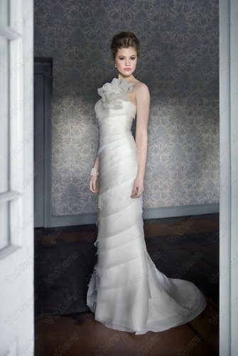 Organza Modified Sweetheart Layered Bodice Column Wedding Dress - Vuhera.com