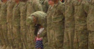 Little Girl Can't Wait Until End Of Military Homecoming Ceremony To Give Soldier Dad A Big Hug