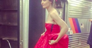 Katie Holmes Catches The Train At Penn Station In A Ballgown