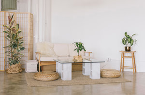 DIY: $100 Glass and Concrete Coffee Table