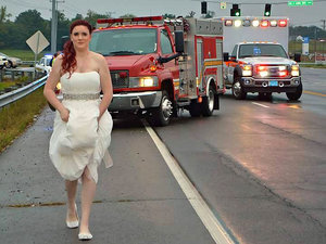 Paramedic Bride Rushes to Scene of Car Crash in Her Wedding Dress