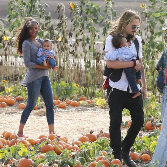 Zoe Saldana and Marco Perego Take Twins to the Pumpkin Patch