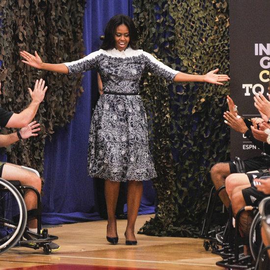 Michelle Obama Wears Tadashi Shoji With Prince Harry