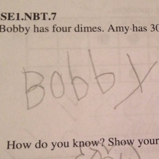 Boy Shows His Thinking on Homework Assignment