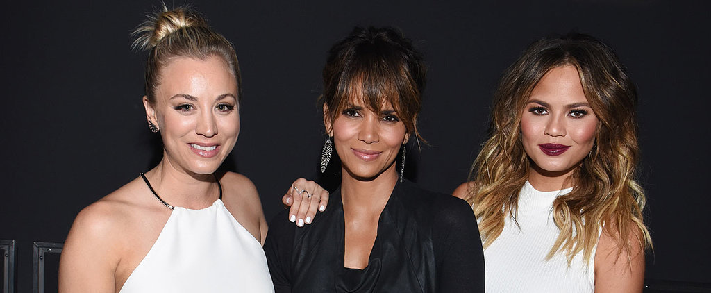 Chrissy Teigen's Baby Bump Casually Hangs Out With Kaley Cuoco and Halle Berry