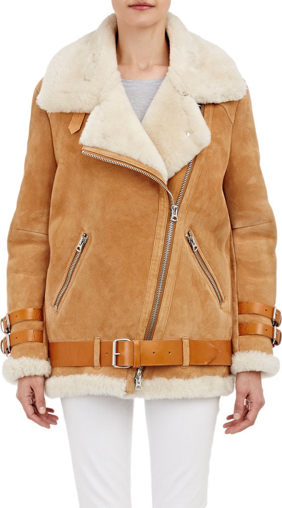 If she's stuck in the cold for the next few months, at least she can layer up in style and luxury in this Acne Studios shearling-lined moto jacket ($2,800).