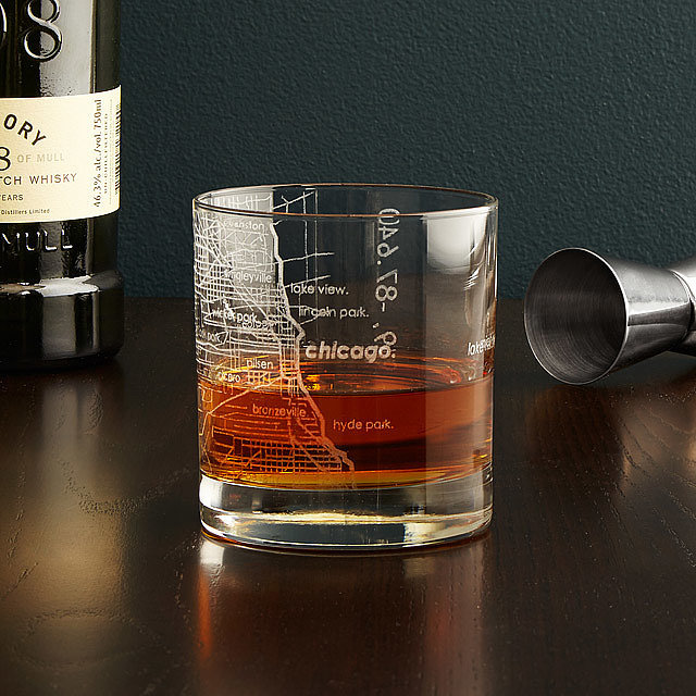 For the Long Distance Grandpa: City Map Glass