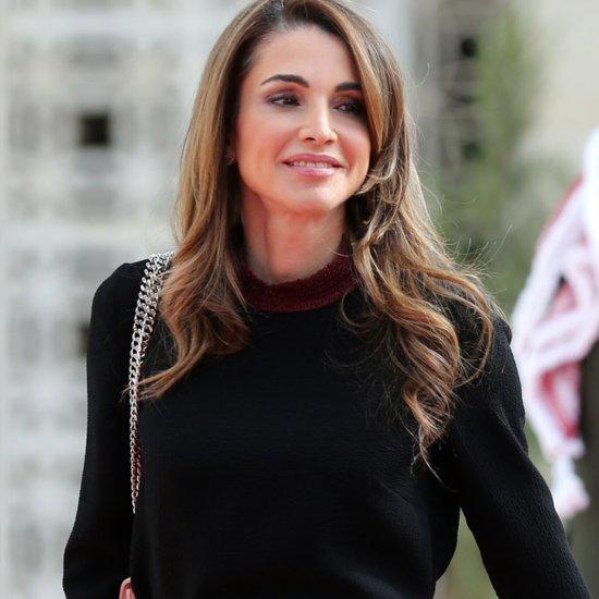 Queen Rania Wearing Colorblock Skirt | November 2015