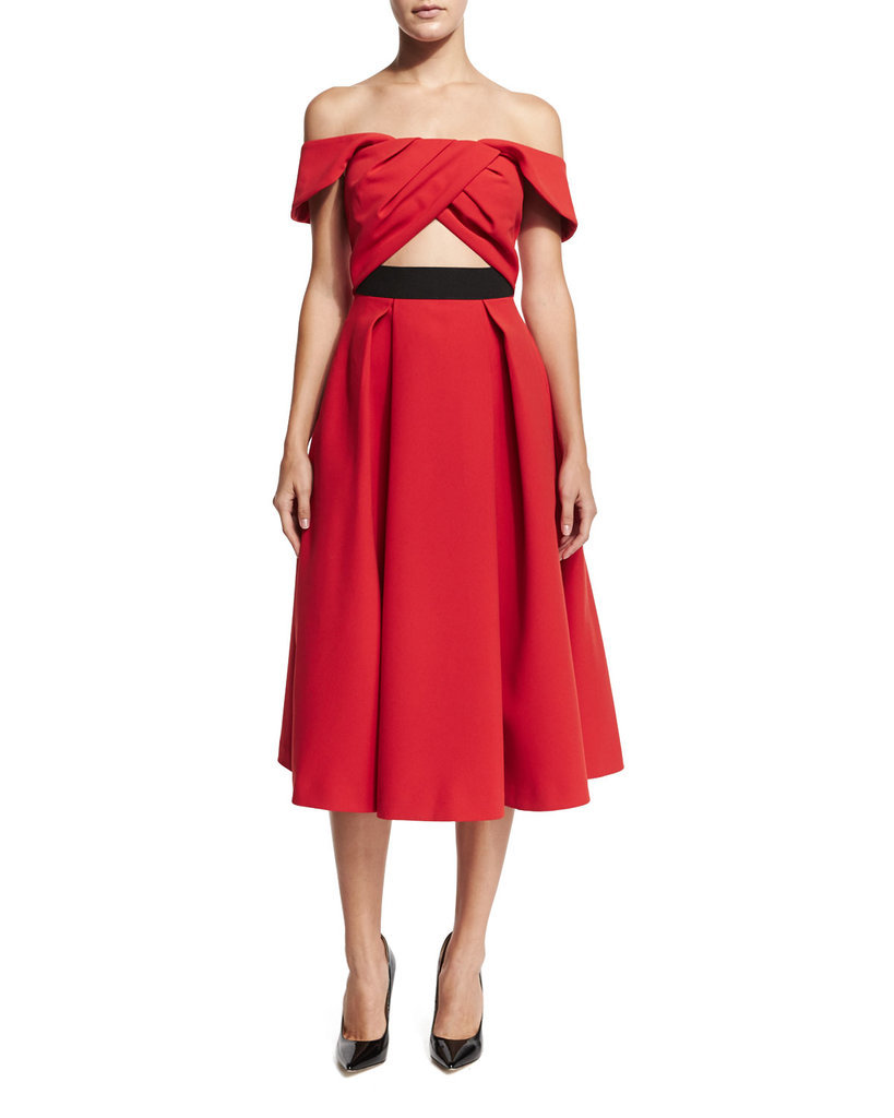 Self-Portrait Ayelette Cutout Double-Crepe Dress ($640)