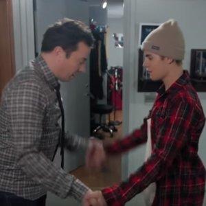 Justin Bieber and Jimmy Fallon Secret Handshake Video 2015