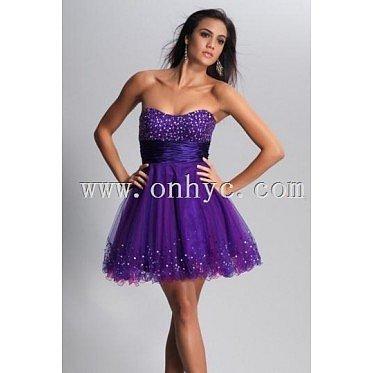 Pretty Tulle Strapless Rhinestone A line Formal Dress