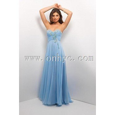 Chiffon Sweetheart Sequin Beaded Ruching A line Long Formal Dress