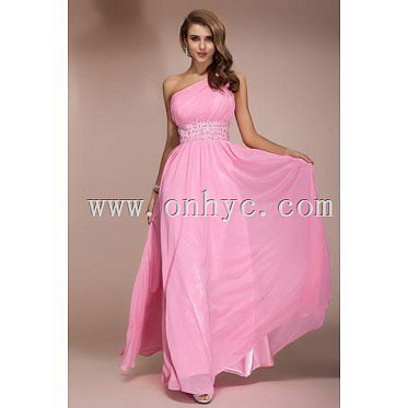 Chiffon Sexy One Shoulder Pink Beading Empire Long Formal Dress