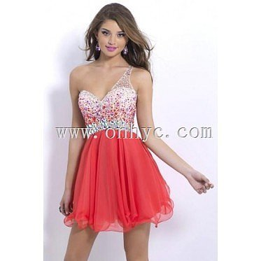 Sexy One Strap Off Shoulder Beading Cut Out Back Mini Cocktail Homecoming Dress