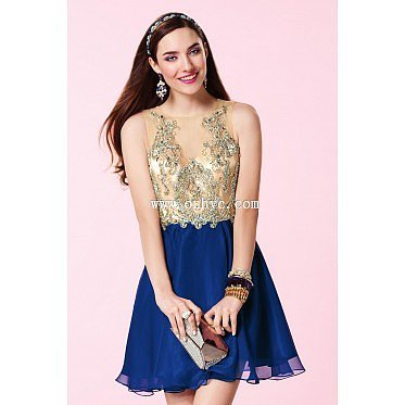 Perfect Bateau Natural Mini Chiffon Royal Blue Sleeveless Graduation Dress with Beading and Appliques