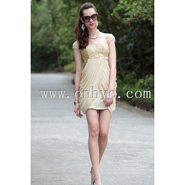 Side Drapping Square Neck Chiffon  Beige Wrap Cocktail Dress