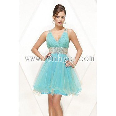 Beading Open Back V neck Organza A line Cocktail Dress