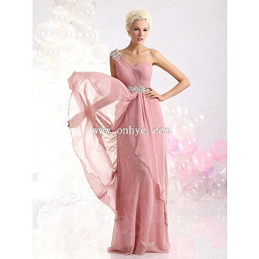Latest Sheath Column One Shoulder Floor Length Chiffon Pink Evening Dress L