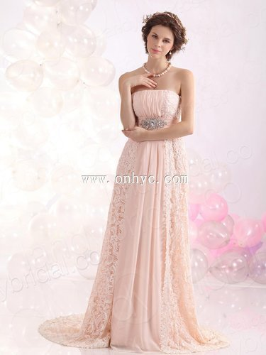 Simple A Line Strapless Brush Train Lace Pink Evening Dress L