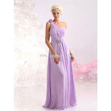Modest Sheath Column One Shoulder Floor Length Chiffon Purple Evening Dress L