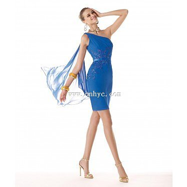 Dreamy Sheath Column One Shoulder Short Chiffon Blue Party Dress