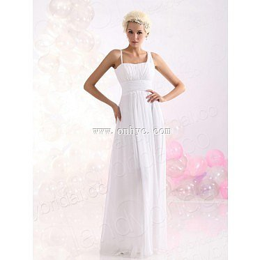 Dramatic Sheath Column Spaghetti Strap Floor Length Chiffon White Evening Dress L
