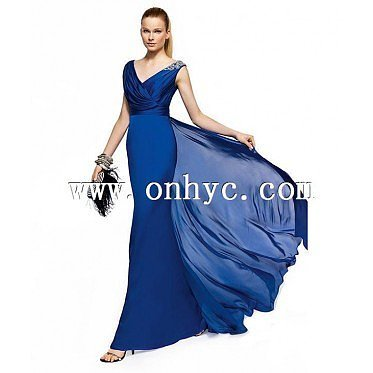 Vintage Sheath Column V Neck Floor Length Blue Evening Dress
