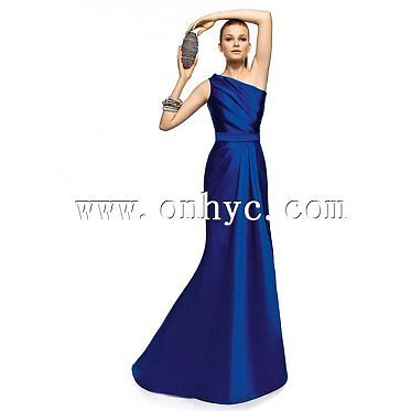 Unique Sheath Column One Shoulder Floor Length Blue Evening Dress