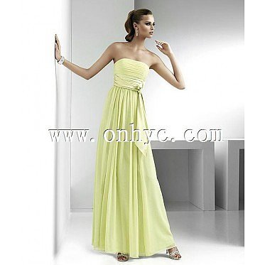 Romantic Sheath Column Strapless Floor Length Green Evening Dress