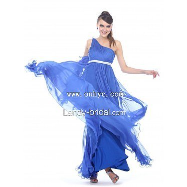 Graceful Empire One Shoulder Floor Length Chiffon Blue Formal Evening Dre