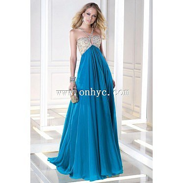 Chic A-Line Halter Natural Train Chiffon Blue Sleeveless Zipper Evening Dress with Sequin