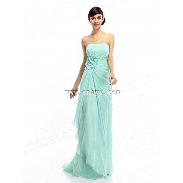 Casual Sheath-Column Strapless Sweep-Brush Train Green Chiffon Bridesmaids Dre