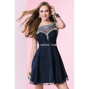 New Arrival Jewel Natural Mini Chiffon Dark Navy Sleeveless Graduation Dress with Crystal