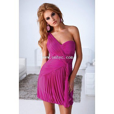 Lovely One shoulder Natural Mini Chiffon Fuchsia Sleeveless Homecoming Dress with Ruched