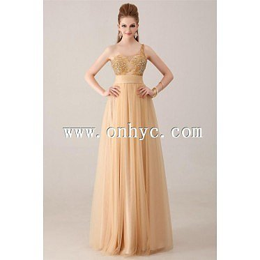 Latest A-Line One Shoulder Floor Length Tulle Champagne Side Zipper Evening Dress with Appliques and Crystals