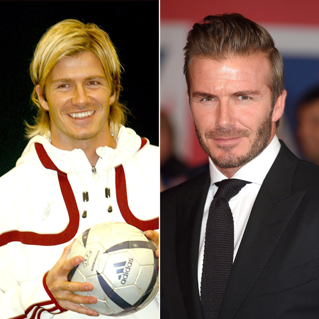 David Beckham in 2005 and 2015