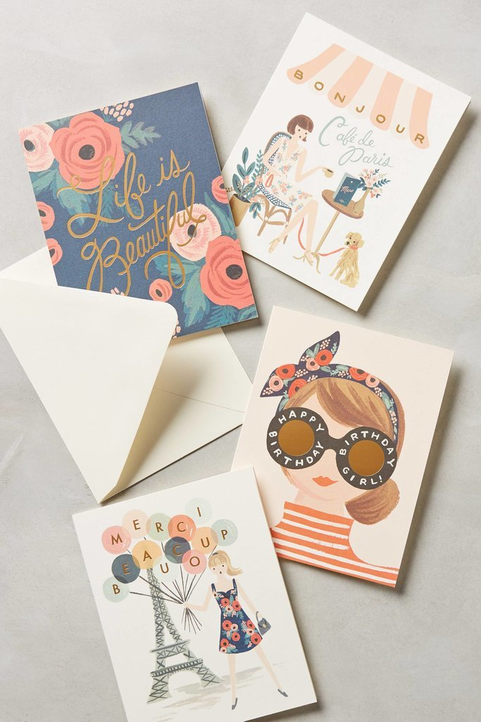 This Rifle Paper Co. card set ($18) may just be the best way for her to spread the word, whatever it may be.