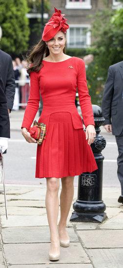 Kate Middleton Wearing Red Alexander McQueen Dress