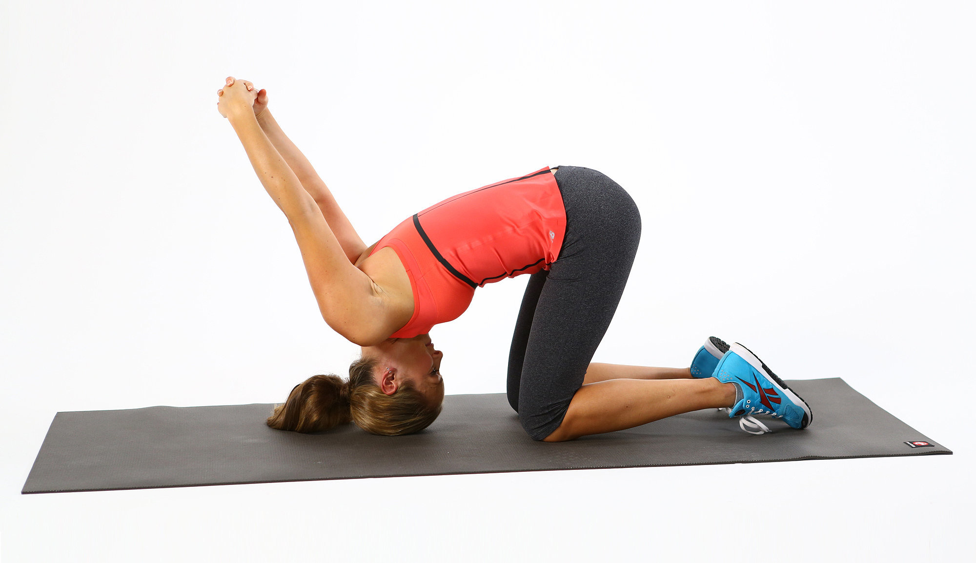 Neck back chest stretch kneeling tipover tuck for Floor quad stretch