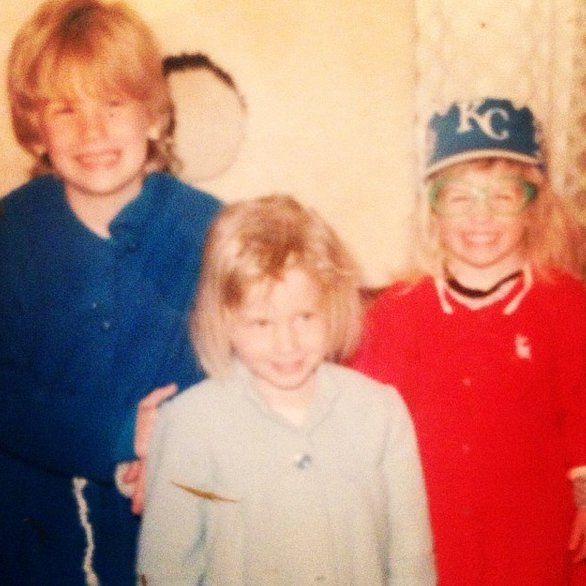 """""""#tbt to when we were always posed in front of the cat house my Mom built. #takeprideinthingsyoubuild #welookliketheorphansinAnnie #imonthefarleft"""""""