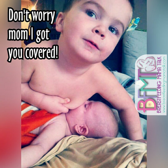 Photo of Toddler Breastfeeding Sibling