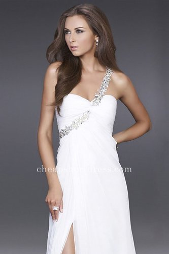 Hot Sale One Shoulder White La Femme 15361 Prom Dresses