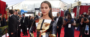 Alicia Vikander Wears a Sequinned, Colour-Block Masterpiece of a Dress to the SAG Awards